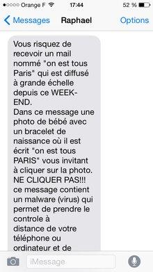 spam SMS bébé virus on est tous paris