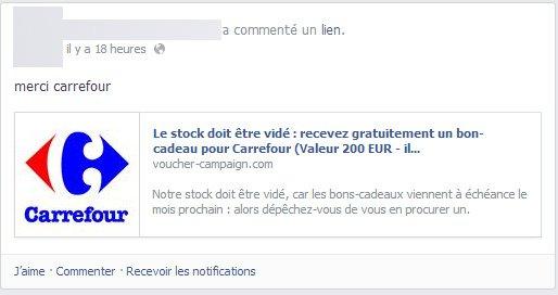 Facebook arnaque Carrefour