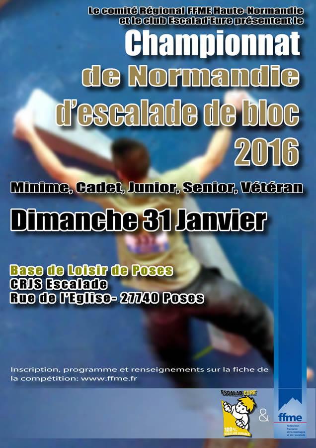Affiche du championnat Régional d'escalade de bloc 2016